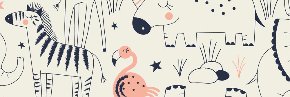 Papier Peint Panoramique avec motifs pour chambre d'enfants