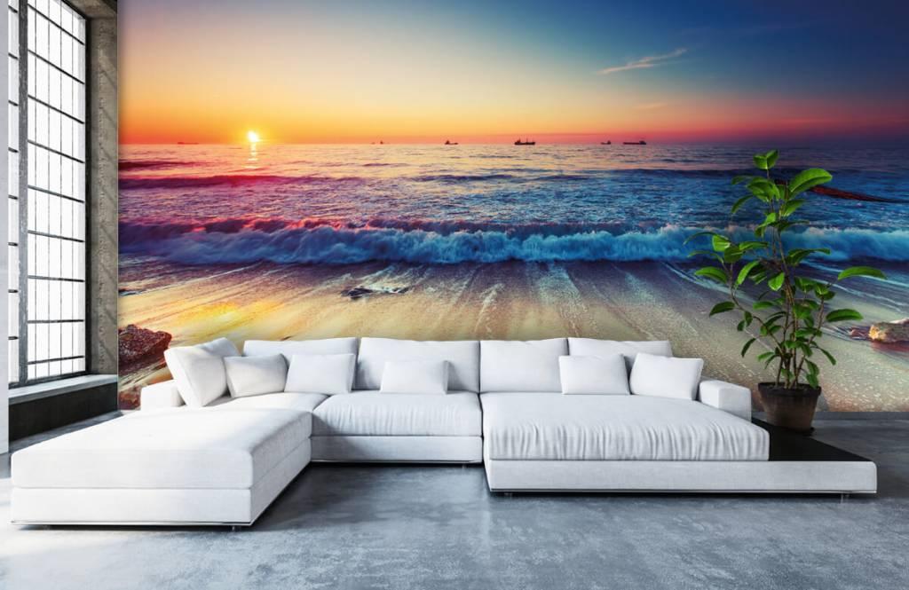 Papier peint de la plage - Coucher de soleil sur la mer - Chambre à coucher 1