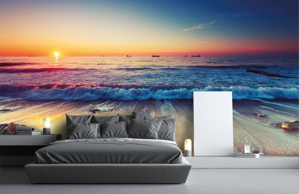 Papier peint de la plage - Coucher de soleil sur la mer - Chambre à coucher 3