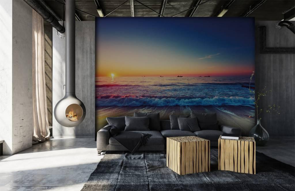 Papier peint de la plage - Coucher de soleil sur la mer - Chambre à coucher 6