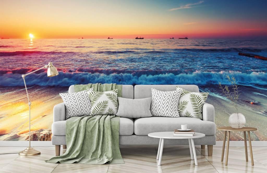 Papier peint de la plage - Coucher de soleil sur la mer - Chambre à coucher 7
