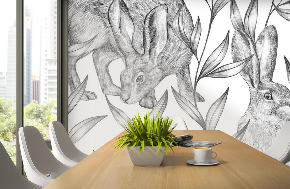 Pattern Motif lièvres en noir et blanc 5