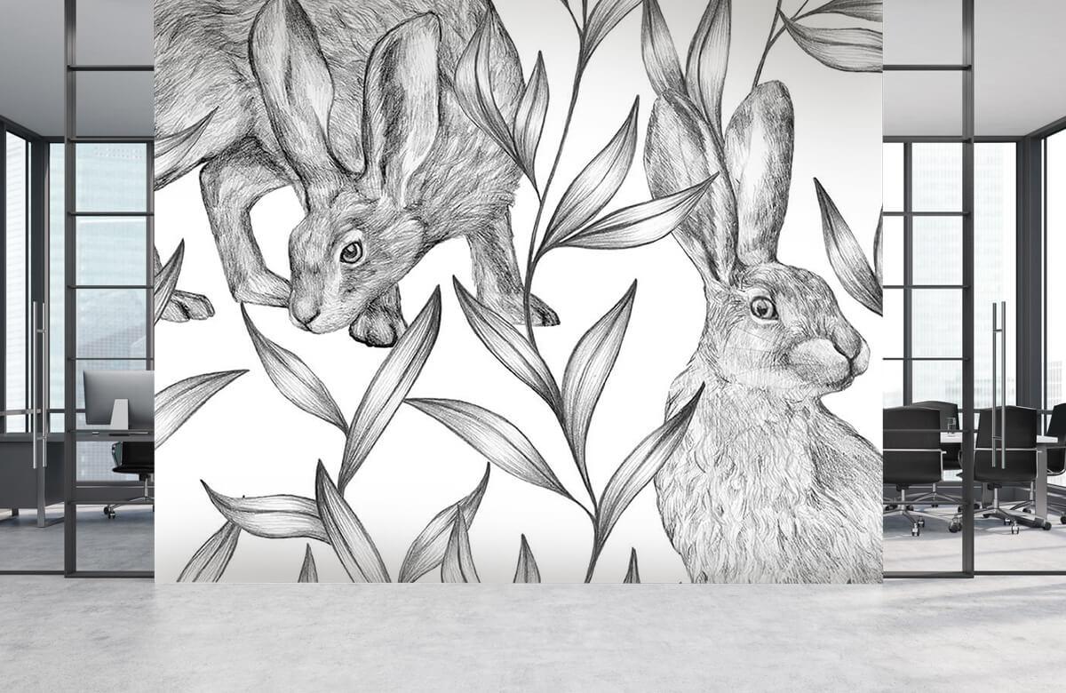 Pattern Motif lièvres en noir et blanc 7