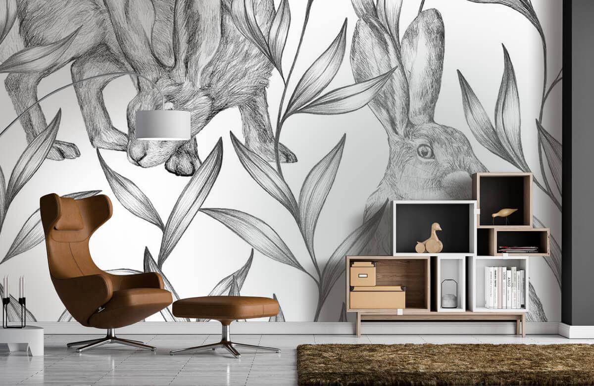 Pattern Motif lièvres en noir et blanc 9