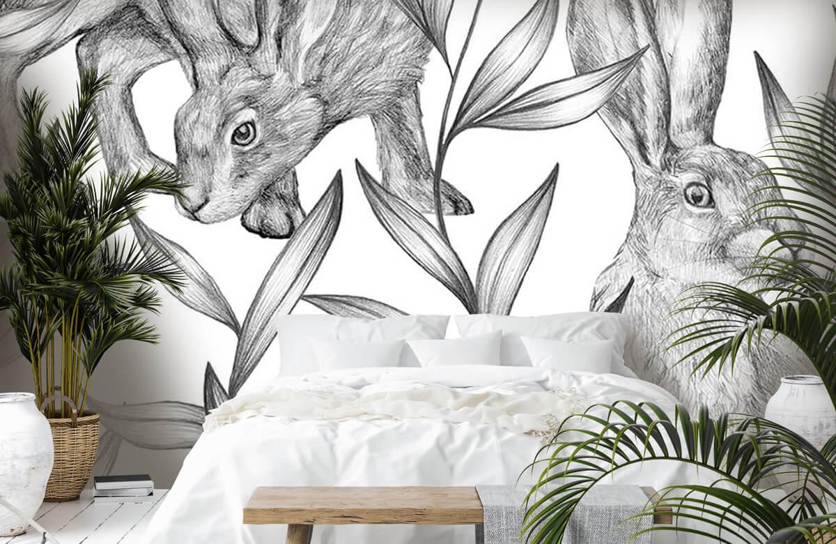 Pattern Motif lièvres en noir et blanc 6