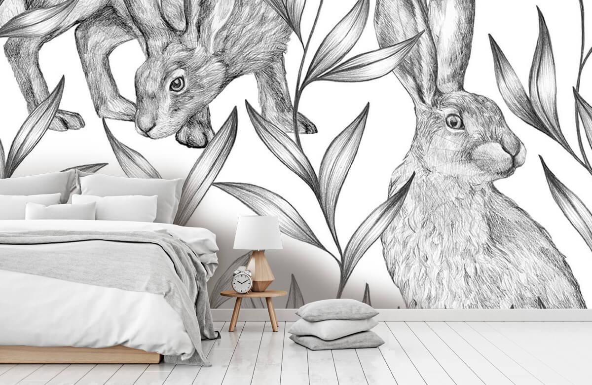 Pattern Motif lièvres en noir et blanc 11