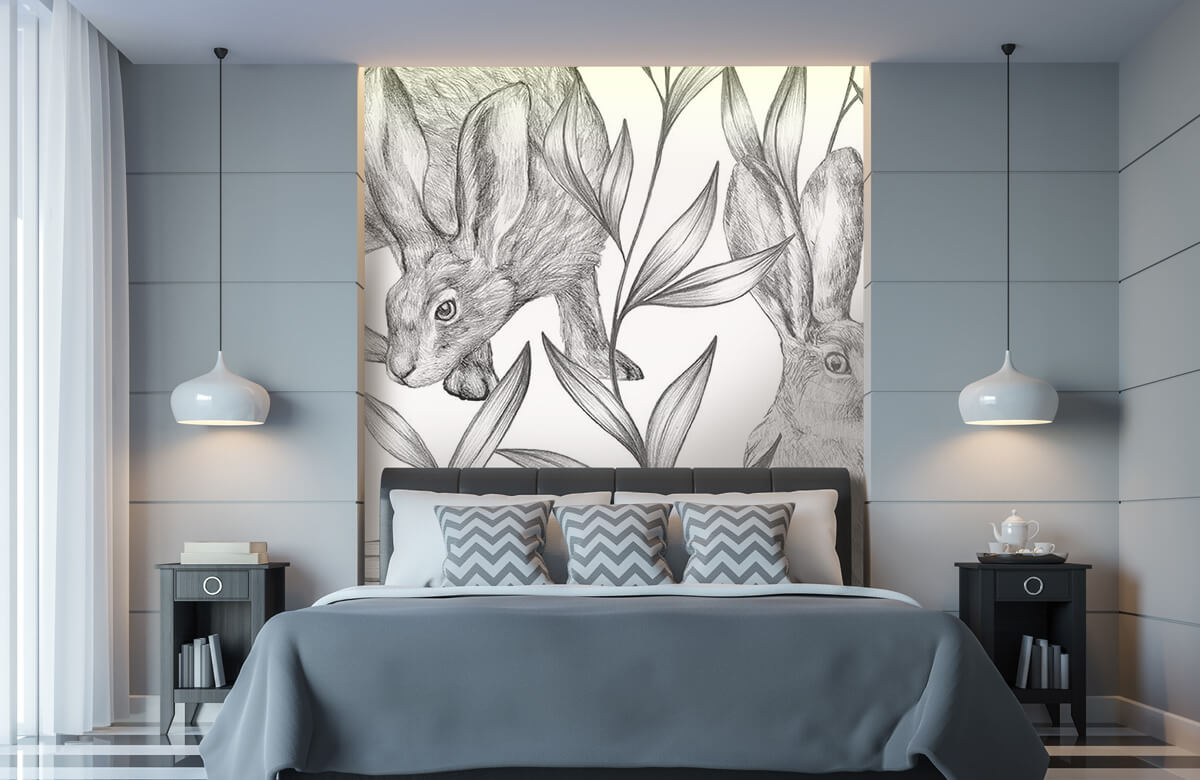Pattern Motif lièvres en noir et blanc 8