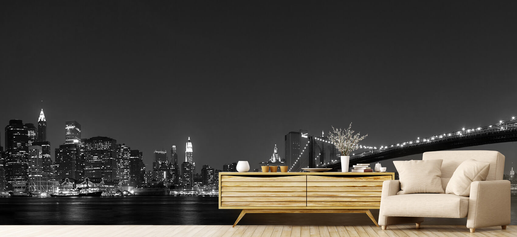 Nacht Manhattan Skyline and Brooklyn Bridge 7