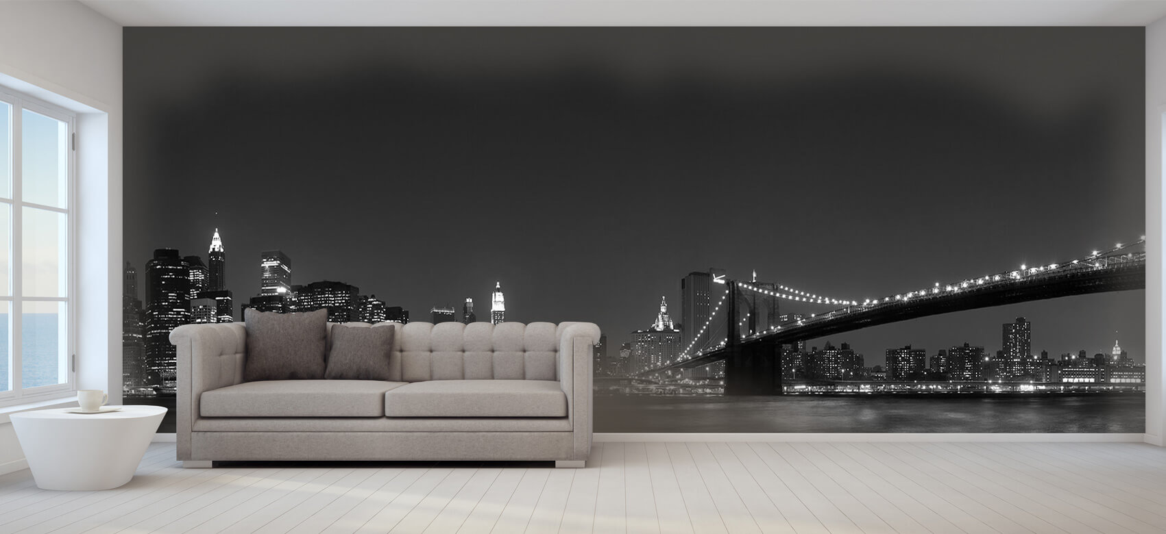 Nacht Manhattan Skyline and Brooklyn Bridge 9