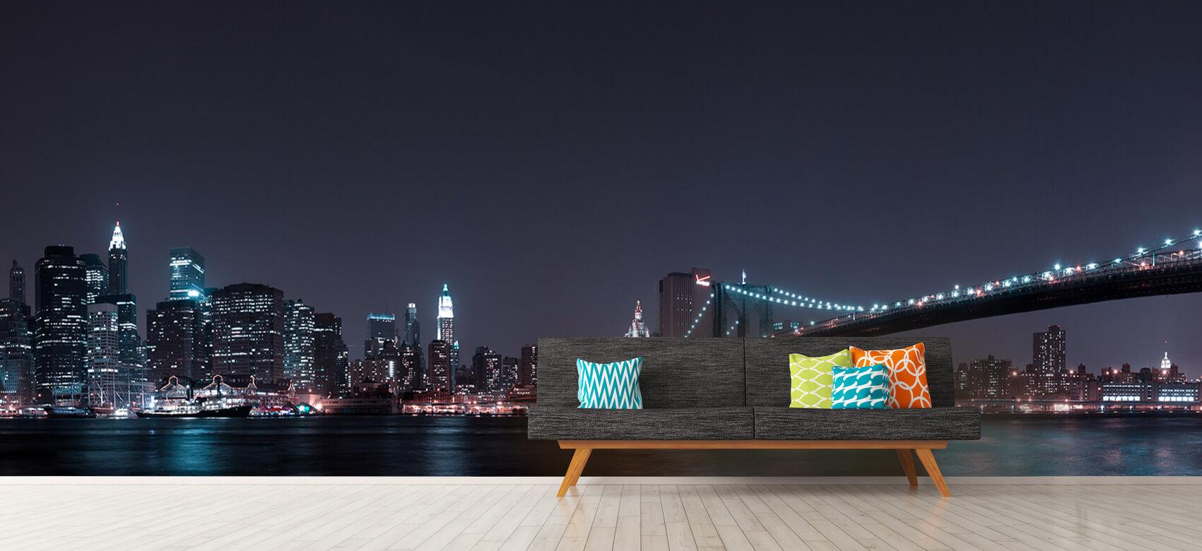 Nacht Manhattan Skyline and Brooklyn Bridge 12